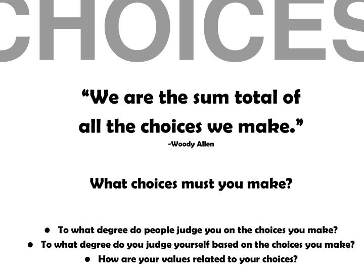 the choices we must make Making difficult decisions when living with multiple sclerosis.