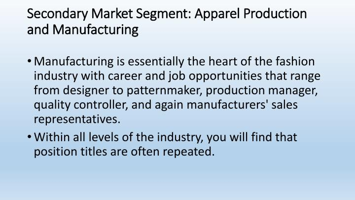 Secondary Market Segment: Apparel Production and Manufacturing