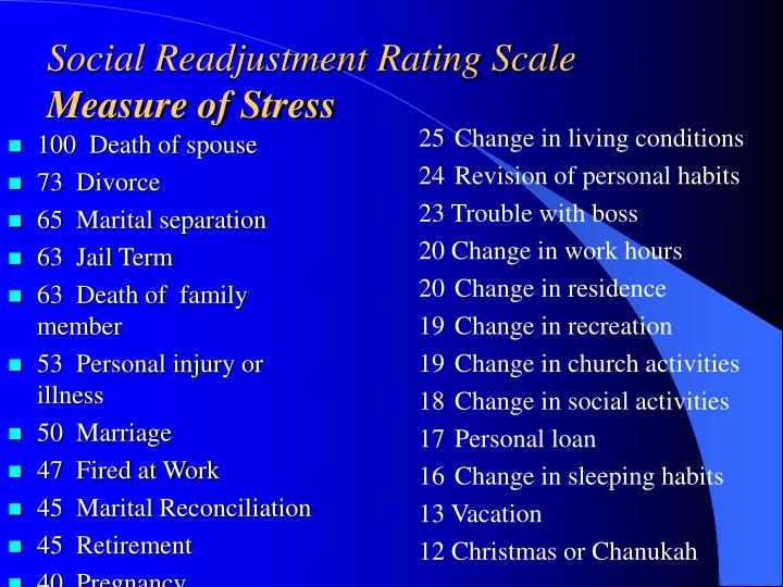 stress and life changes the srrs scale Life events and their relationship to stress levels have been the subject of research most significantly in the late 1960s, when psychiatrists thomas holmes and richard rahe developed the social readjustment rating scale (srrs) to measure the amount of change that different events cause, and to assess the amount of overall change experienced by.