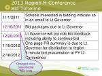 2013 region h conference bid timeline