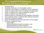 2013 region h conference initial bid requirements