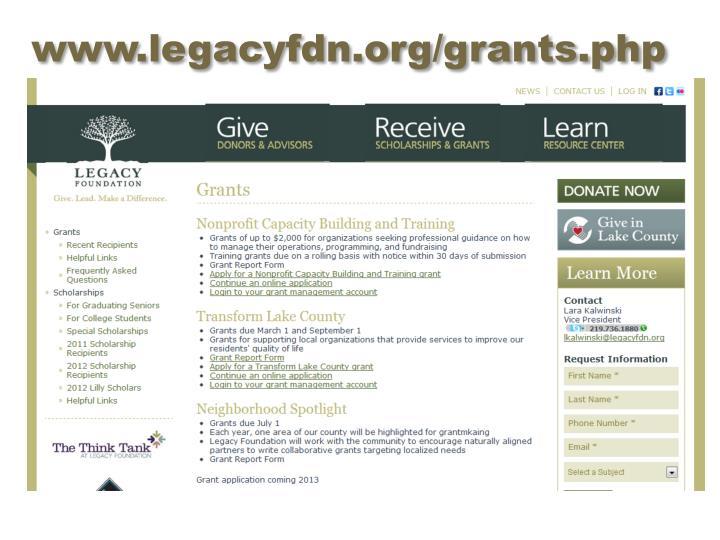 www.legacyfdn.org/grants.php