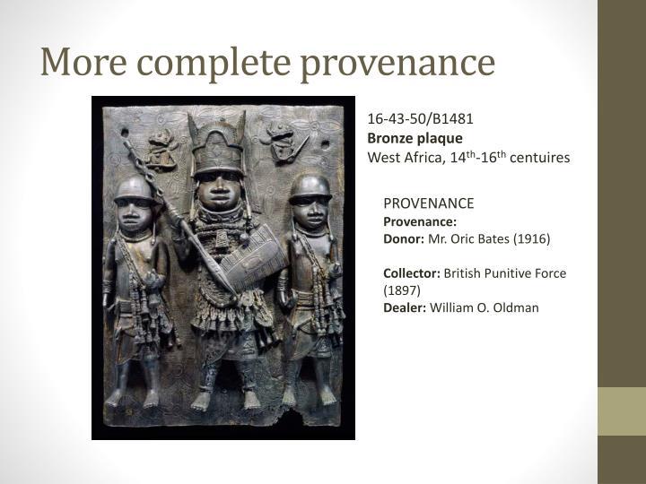 More complete provenance