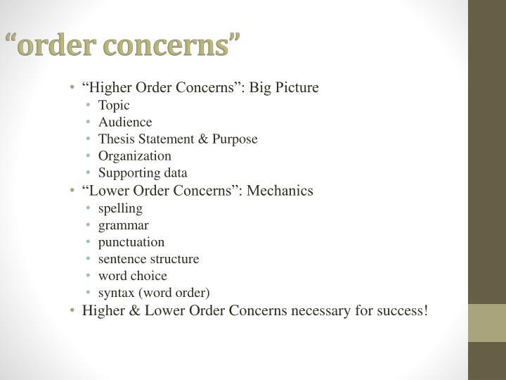 Order concerns