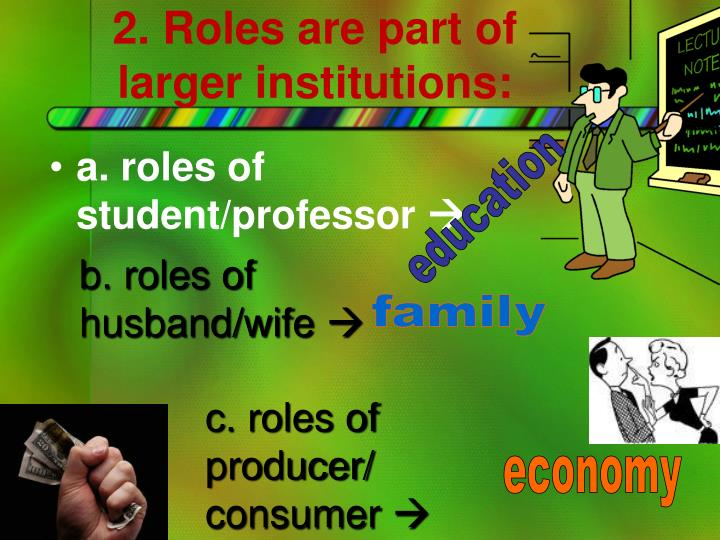 2. Roles are part of larger institutions: