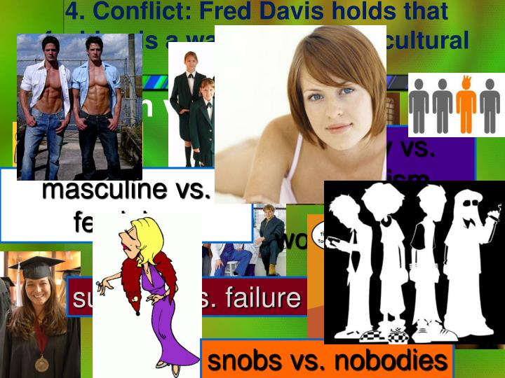4. Conflict: Fred Davis holds that fashion is a way to deal with cultural conflicts: