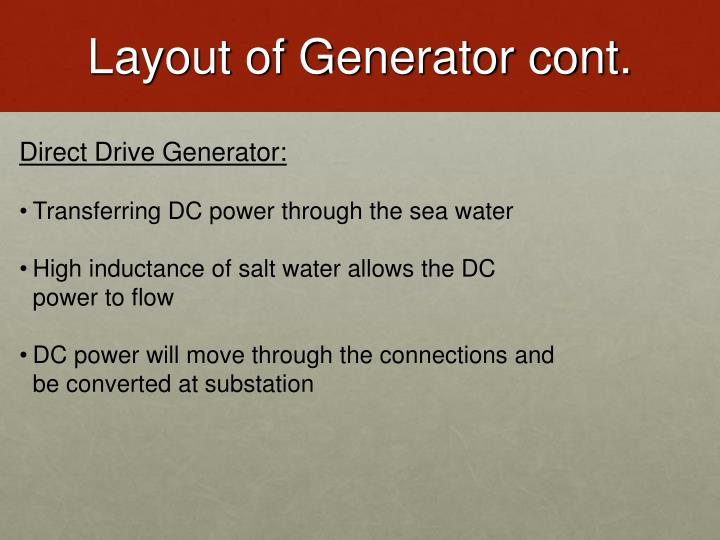 Layout of Generator cont