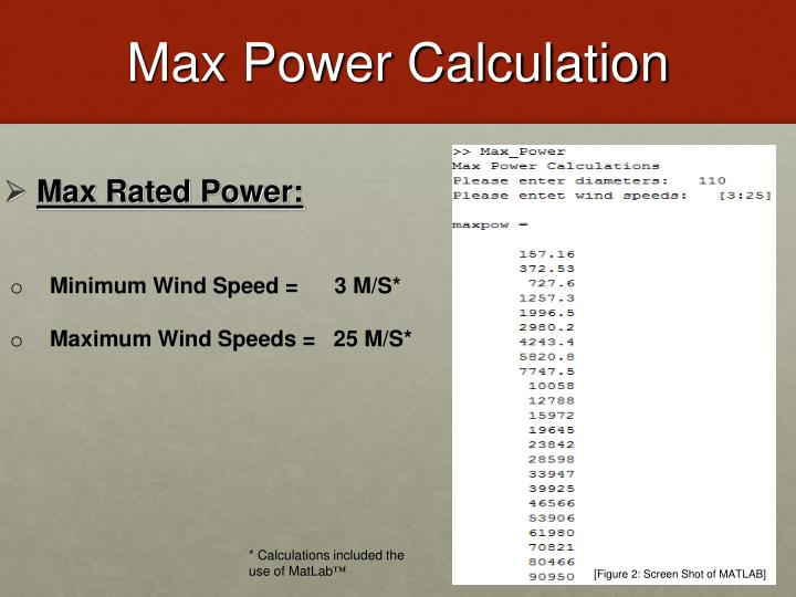 Max Power Calculation