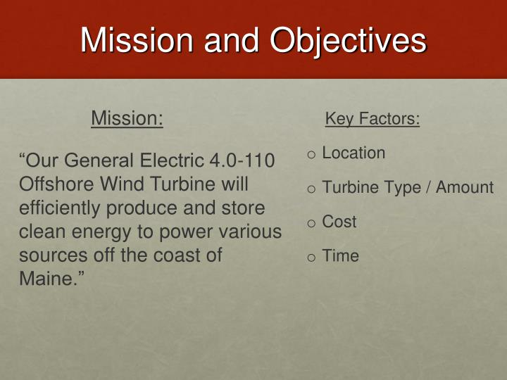 Mission and Objectives