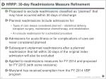 hrrp 30 day readmissions measure refinement
