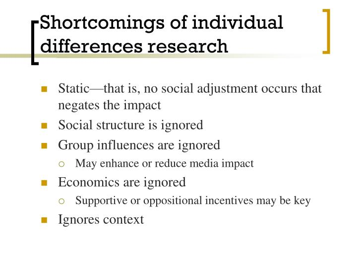 Shortcomings of individual differences research