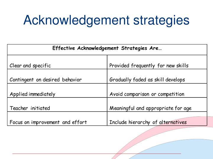 Acknowledgement strategies