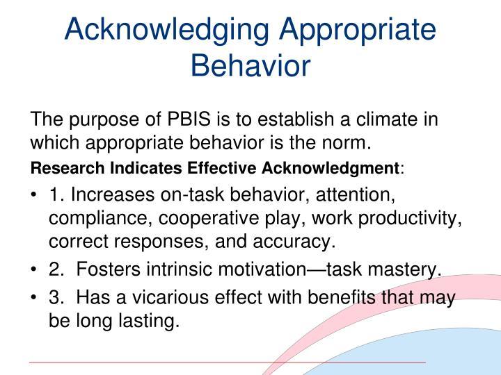 Acknowledging Appropriate Behavior