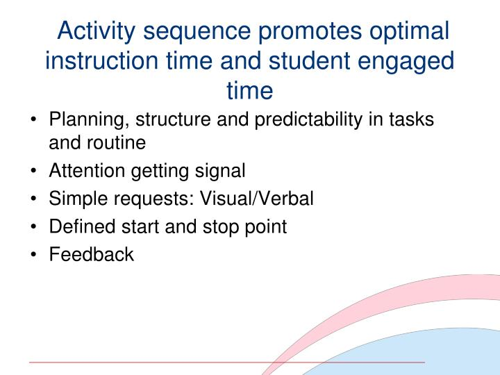 Activity sequence promotes optimal instruction time and student engaged time