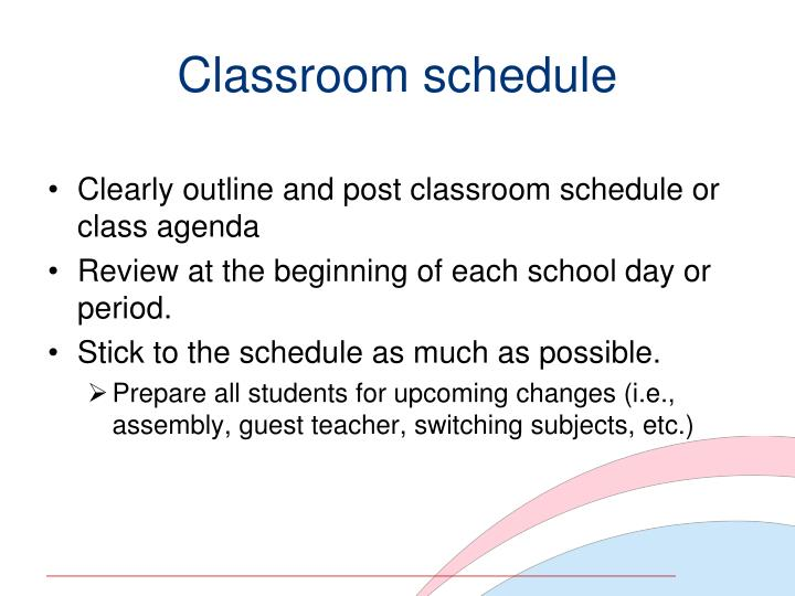Classroom schedule