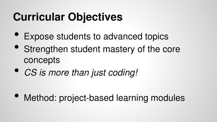 Curricular Objectives