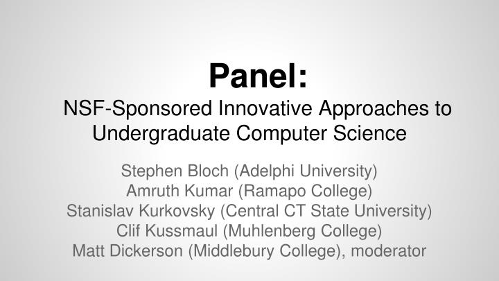 Panel nsf sponsored innovative approaches to undergraduate computer science