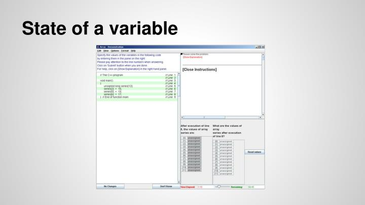State of a variable