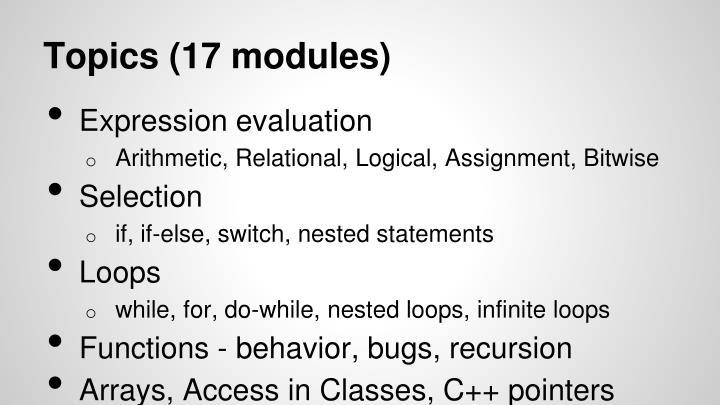 Topics (17 modules)