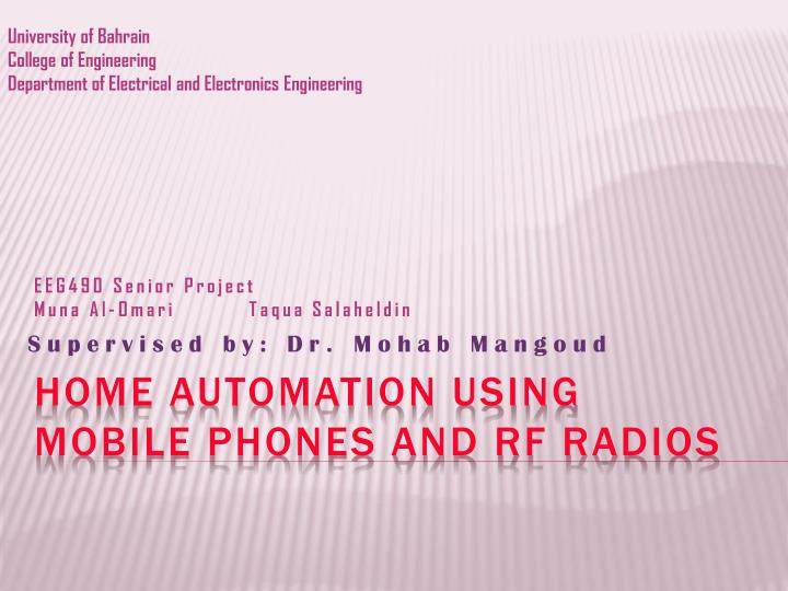 PPT - Home automation using mobile phones and RF radios