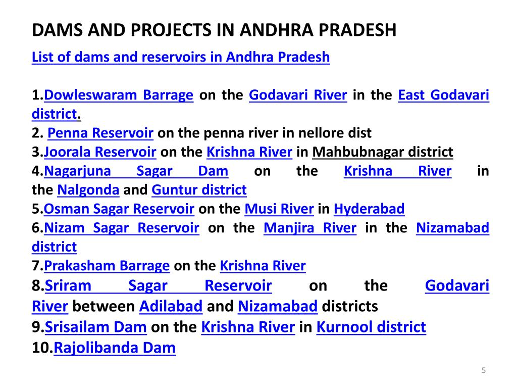 PPT - DAMS AND PROJECTS IN ANDHRA PRADESH PowerPoint Presentation