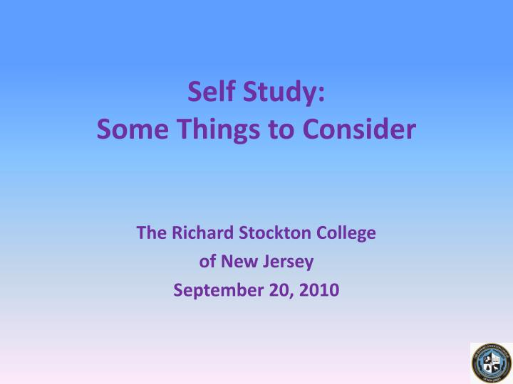 self study some things to consider n.