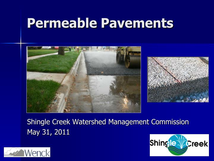 permeable pavements n.