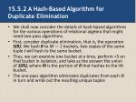 15 5 2 a hash based algorithm for duplicate elimination