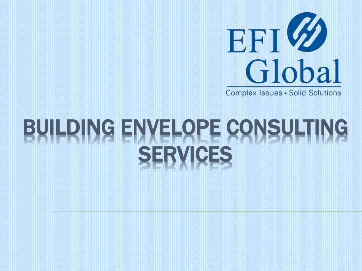 building envelope consulting services n.