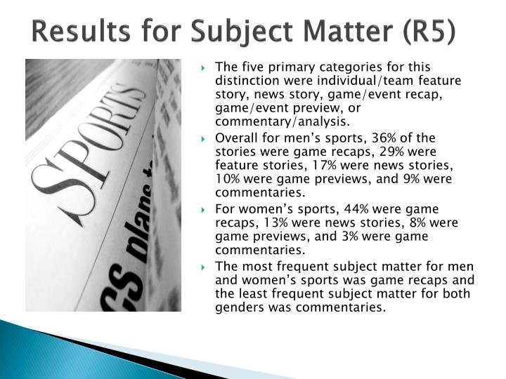 Results for Subject Matter (R5)
