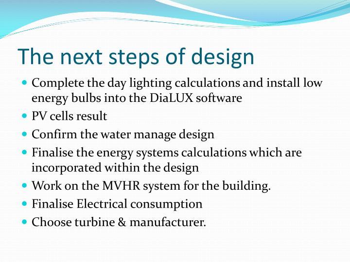 The next steps of design