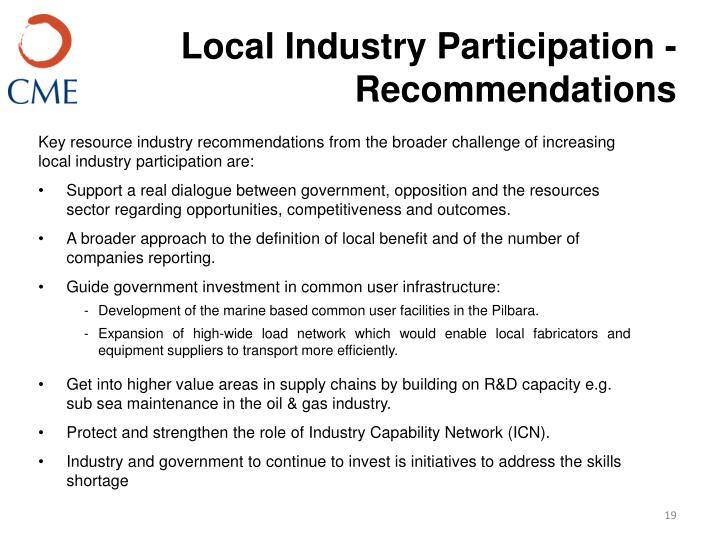 Local Industry Participation - Recommendations