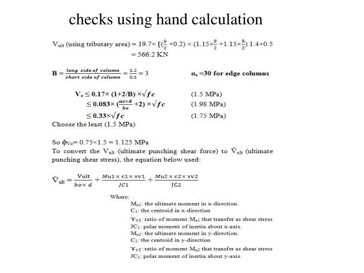 checks using hand calculation
