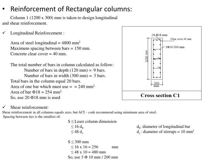 Reinforcement of Rectangular columns: