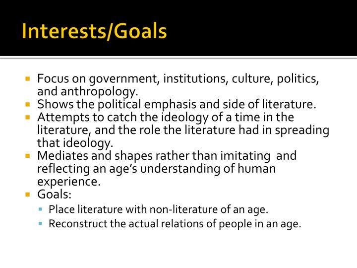 Interests/Goals