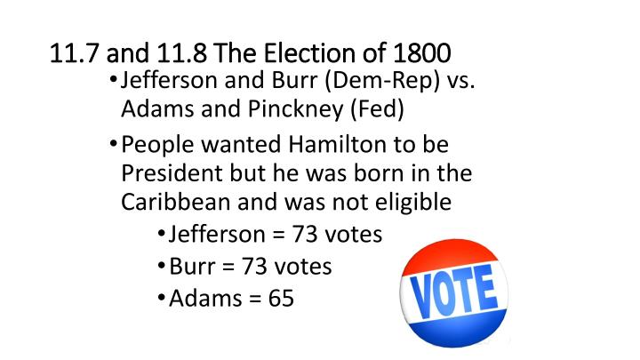 11.7 and 11.8 The Election of 1800