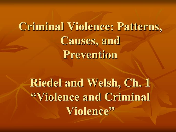 Criminal Violence: Patterns, Causes, and