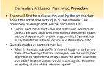 elementary art lesson plan misc procedure