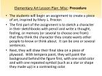 elementary art lesson plan misc procedure1