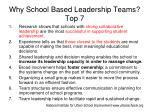why school based leadership teams top 7