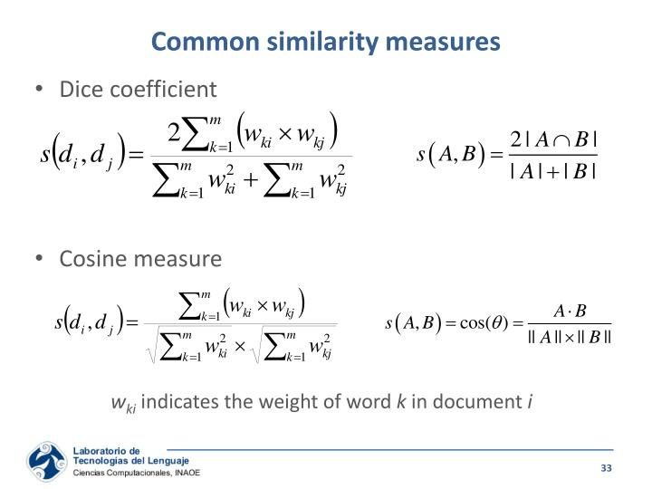 Common similarity measures