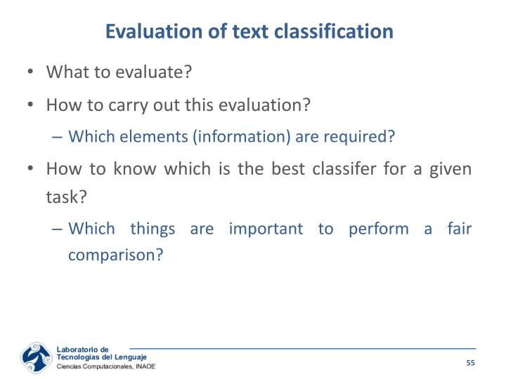 Evaluation of text classification
