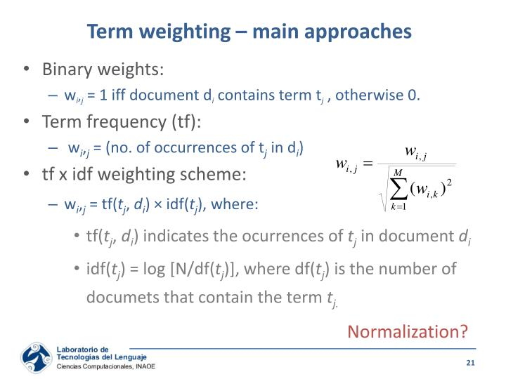 Term weighting – main approaches