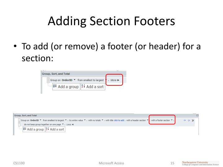 Adding Section Footers