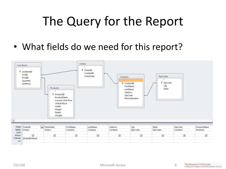 The Query for the Report
