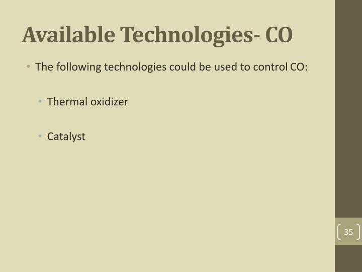 Available Technologies- CO