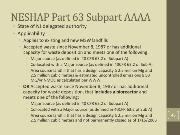 NESHAP Part 63 Subpart AAAA
