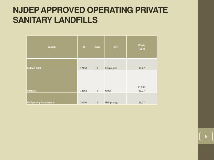 NJDEP APPROVED OPERATING PRIVATE SANITARY LANDFILLS