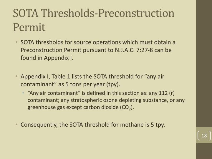 SOTA Thresholds-Preconstruction Permit