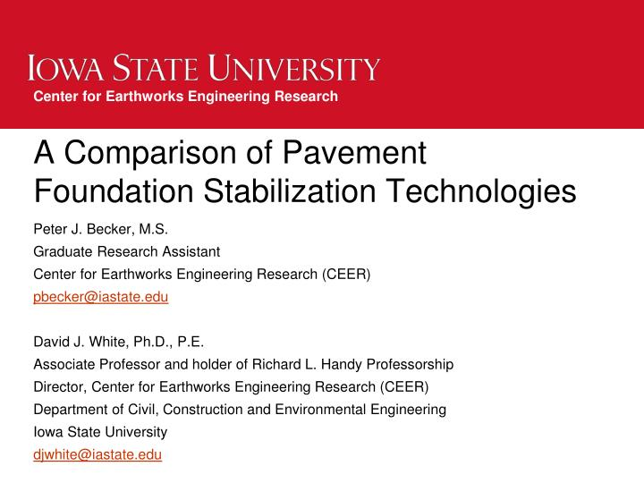 a comparison of pavement foundation stabilization technologies n.